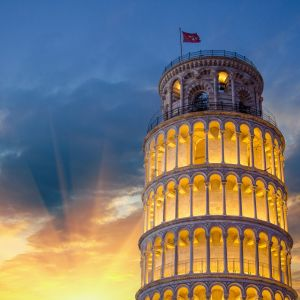 Tower of Pisa at sunset Italy